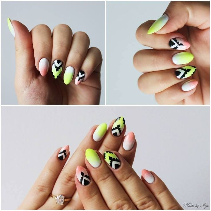 Aztec nails by Iza Kuczyńska ♥ ♥ Semilac: 001, 040, 055, 031