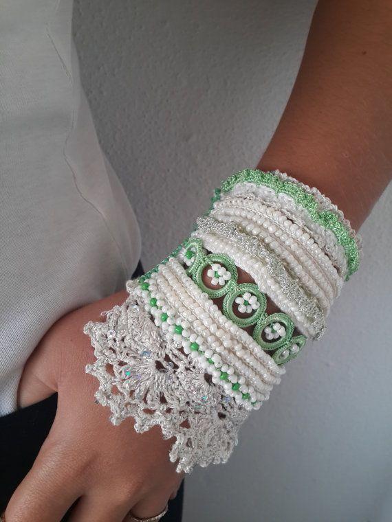 Lace Cuff Bracelet Crochet Bracelet Beaded Cuff by SESIMTAKI