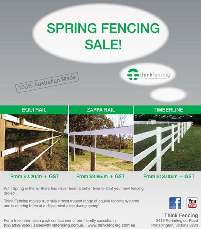 Think Fencing makes Australia's most trusted range of equine fencing systems & is offering them at a discounted price during spring! For more information  call us 035 259 2555 & like us on Facebook https://www.facebook.com/thinkfencing