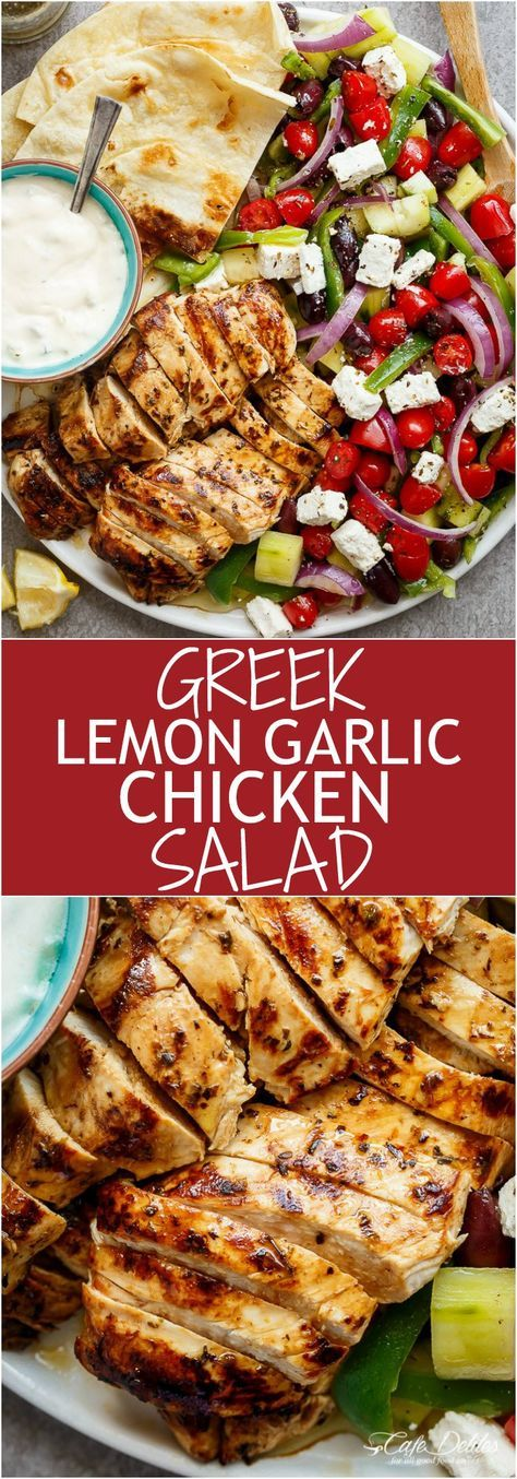 Greek Lemon Garlic Chicken Salad with an incredible dressing that doubles as a marinade! Complete with Tzatziki and homemade flatbreads, it's a winner! | cafedelites.com