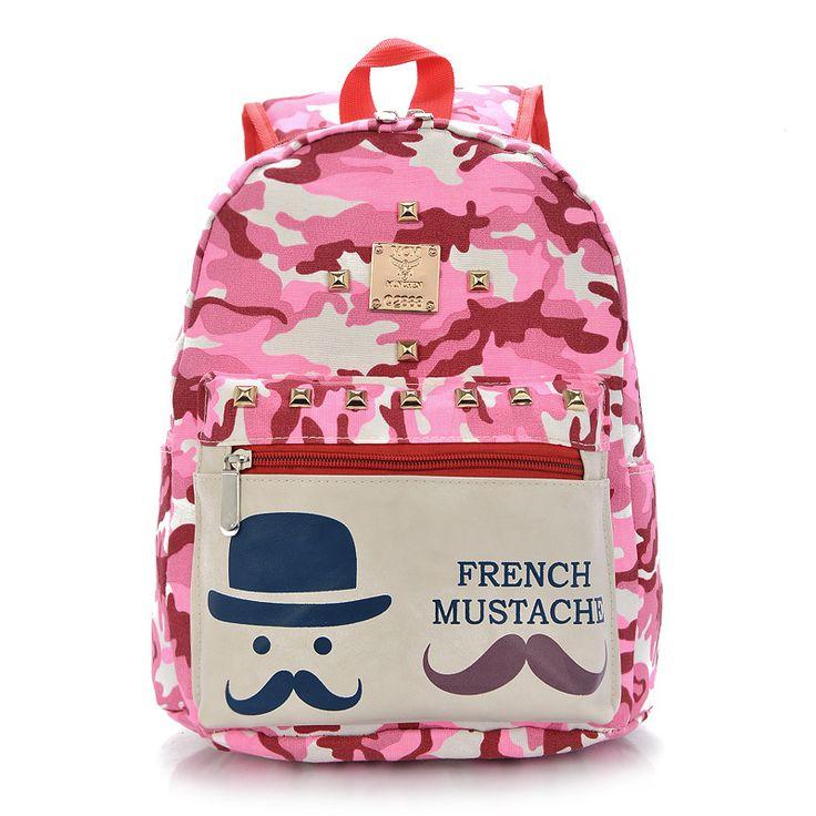 2016 симпатичные усы школьные сумки для девочек холст камуфляж цвета дети рюкзаки мальчик школьный ребенок детский сад мешок mochilas