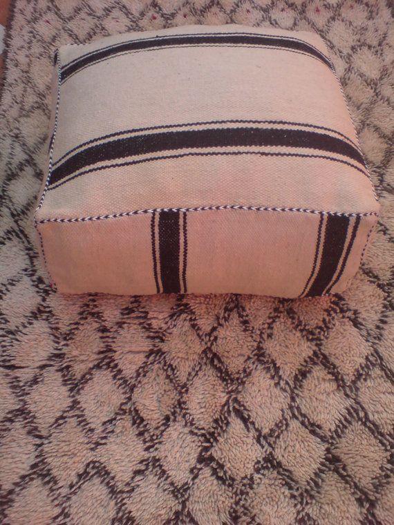 Vintage Moroccan Berber Kilim Pouf Floor Pillow by BoutiqueMaroc, £74.96