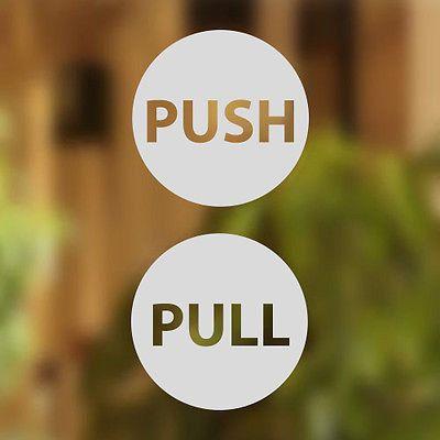 Pull Push Door Stickers Shop Window Salon Bar Cafe Restaurant Office Vinyl…