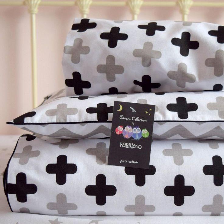 Baby Cot Bed Duvet Cover BEDDING SET Grey Black swiss cross chevron  BUMPER