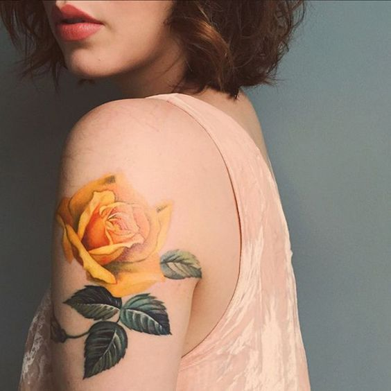 Yellow rose tattoo on sleeve - 40 Eye-catching Rose Tattoos   <3: