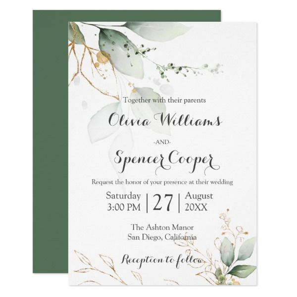 Greenery Green Gold Nature Green Floral Wedding Invitation Zazzle Co Uk Floral Wedding Invitations Brunch Bubbly Bridal Shower Bubbly Bridal Shower