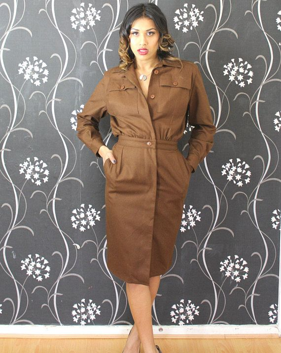 FAB-TO-WEAR Brown Vintage Dress Size Small #80s #dress
