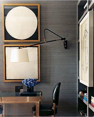 mark cunningham vignette--grey grasscloth, wall-mounted lamp, modern artwork