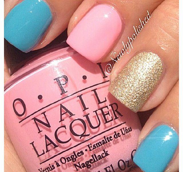 Easter nails. Pink, glitter, blue nails. OPI. Nail Art. Nail Design. Polished. Polishes.