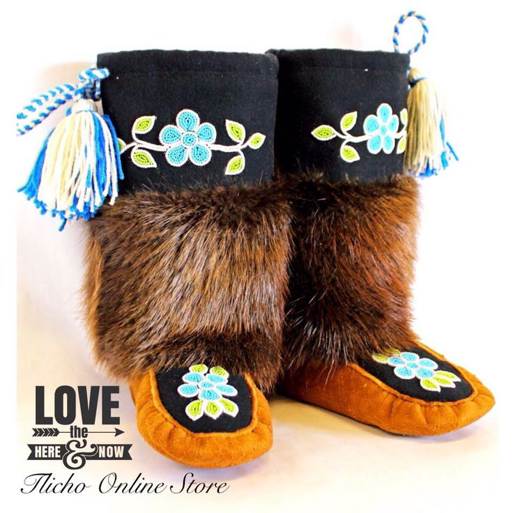 #Dene# Moccasin #Mukluks for $520.00. Made by a #Tlicho Citizen from #Wekweeti, our smallest Tlicho Community.