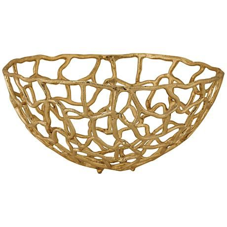 Gorgeous gold finish aluminum framing forms the stunning, abstract design of this transitional medium freeform bowl.