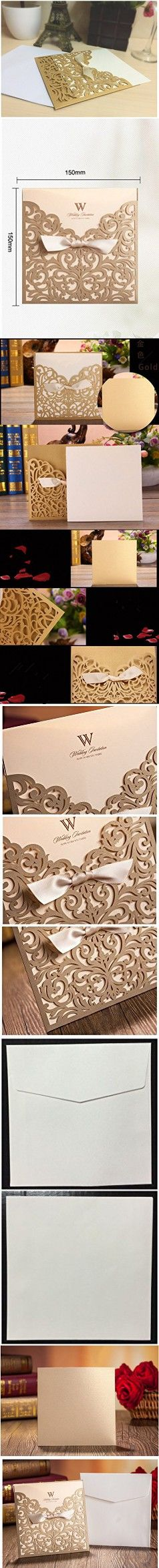 """Graces Dawn® 50pcs Laser-cut Lace Flower Pattern Wedding Invitations Cards(set of 50pcs) and Blank Cards and Envelopes 6 x 6"""" - Value Pack (Champagne Gold)"""