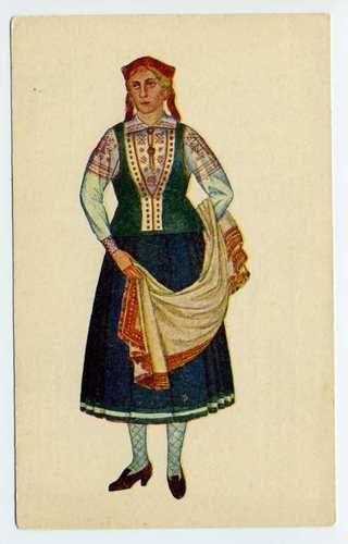 Latvian National Costumes Latvia Courland 1926 Cirulis Salamandra Riga Postcard