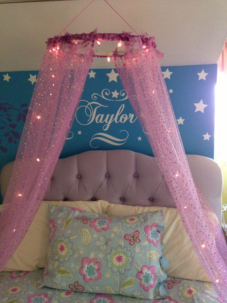 Little Girlu0027s Bed. DIY Canopy.