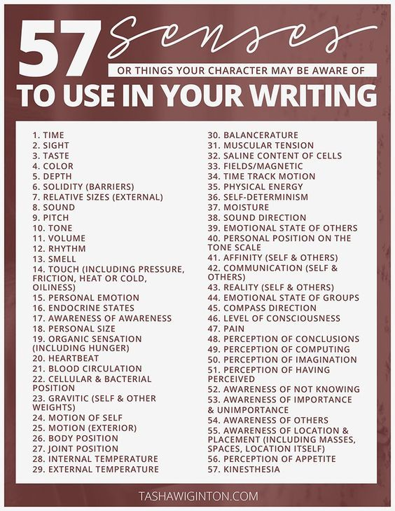 57 senses to use in your writing