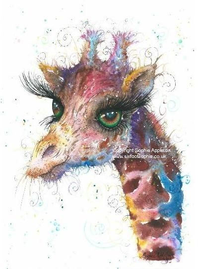 Giraffe painting by Sophie Appleton £13.95 on the 'Art 4 SALE' page of www.sixfootsophie.co.uk