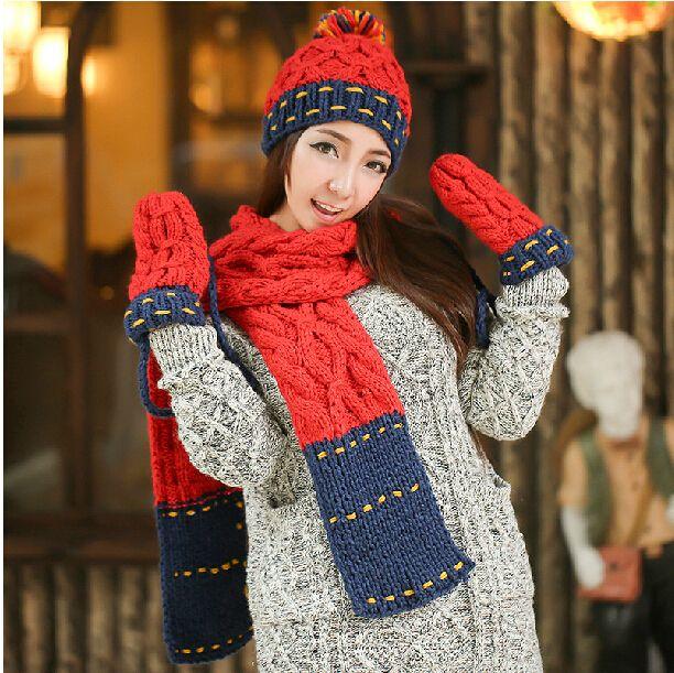 Подарок на день рождения зимой акриловые трикотажные женские плюс бархат утолщение цвет блока шарф шляпа украшения перчатки из трех частей SSET