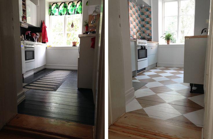 Före och efter golv- och köksrenovreing. Ett snyggt rutigt furugolv, målat och lackat.