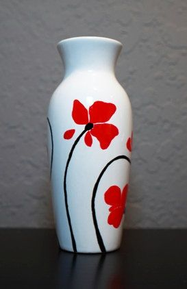 Poppies  Hand Painted Ceramic Vase.