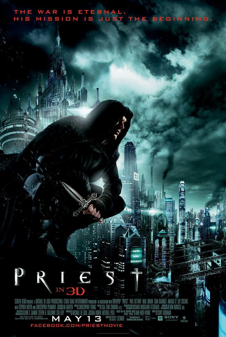 Priest , starring Paul Bettany, Cam Gigandet, Maggie Q, Karl Urban. A priest disobeys church law to track down the vampires who kidnapped his niece. #Action #Fantasy #Horror #Sci-Fi #Thriller