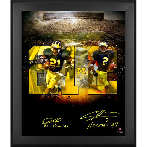 "Desmond Howard & Charles Woodson Michigan Wolverines Fanatics Authentic Framed Dual Signed 20"" x 24"" In Focus Photograph with ""Heisman"" Inscriptions - $799.99"
