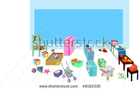 vector illustration of a Play area showing washing, cooking, kitchen and grocery #playground #retro #illustration