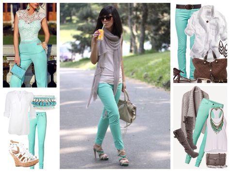 бирюзовые брюки и джинсы
