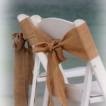 Burlap chair sash- Stitched  edges - Rustic Wedding