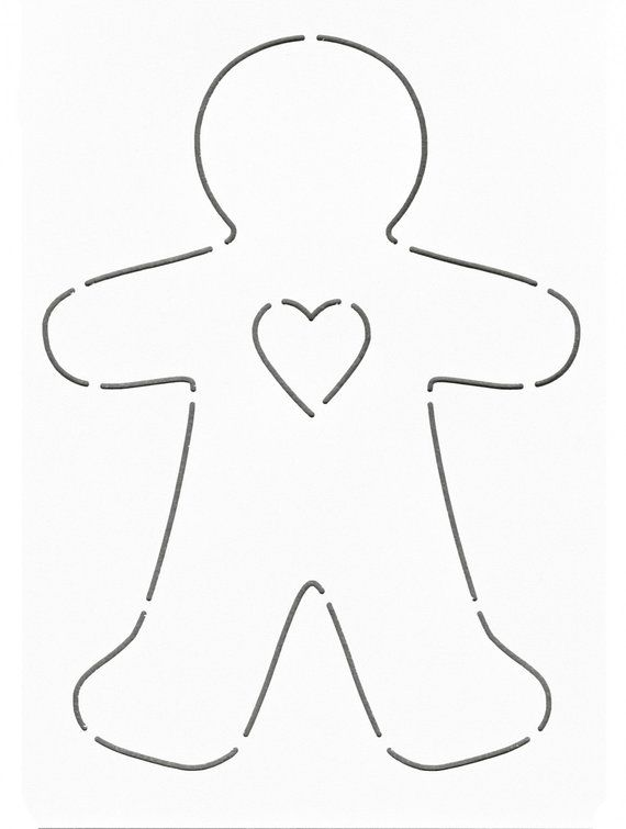 NOTION - Stencil - Template: Gingerbread Man - Heart - Layer Cake ...