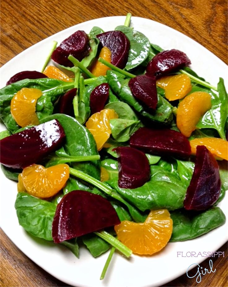 Beet and Mandarin Orange Spinach Salad