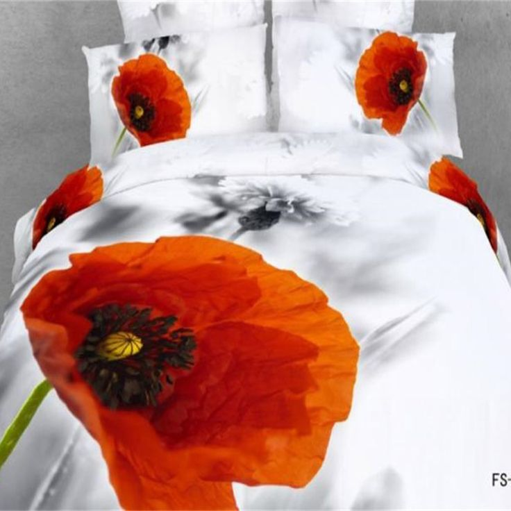 Уникальный черно Белый Дизайн Красный Цветок 3D Комплект Постельных  Принадлежностей Королева размер 100% Хлопок