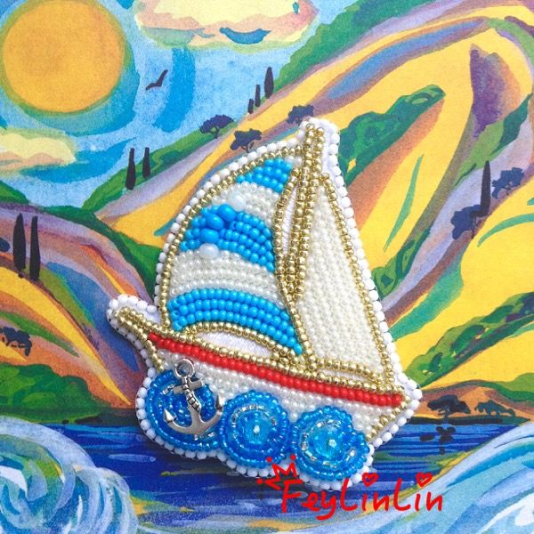 Beaded yacht brooch | Брошь из бисера Яхта ____________________  #FeyLinLin #yacht #embroidery #beads #brooch #ship #брошь #яхта #вышивка #бисер #ビーズ刺繍