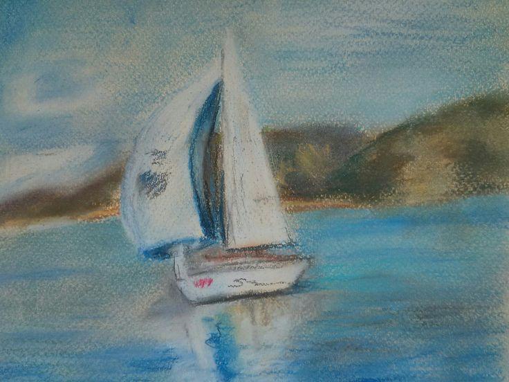 """Белый парус"" 13*20, пастель,   пастельная бумага.  Sailboat. Pastel soft, pastel paper"