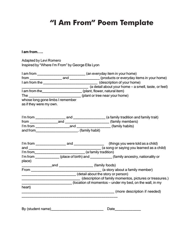 Handout Of Quot I Am From Quot Poem Template Poetry
