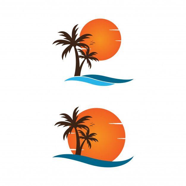 Palm Tree On A Beach Logo Graphic Design Template Beach Logo
