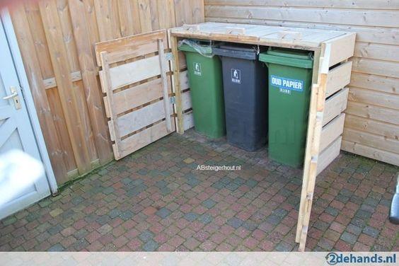 Outdoor Wooden Garbage Can Storage Bin