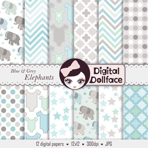 12 sfondi digitali sono in questo pack Elefanti blu grigio &. I documenti digitali sono perfetti per bambino ragazzo doccia inviti, arredamento &
