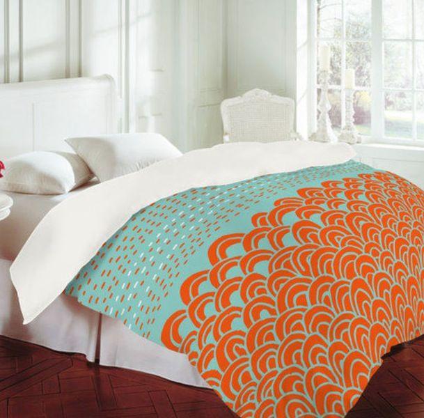 Turquoise And Orange Coral Comforter Mi Casa Su Casa
