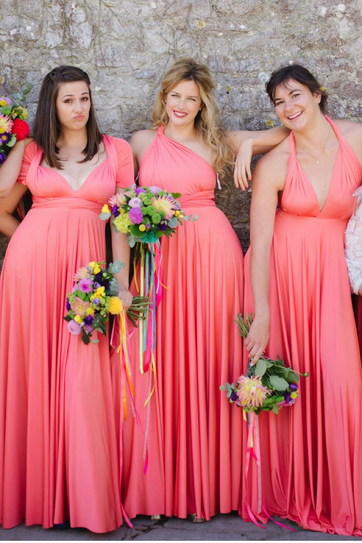 326 best bridesmaid dresses images on pinterest a coral and colour pop wedding with pronovias wedding dress coral bridesmaid dresses ombrellifo Image collections