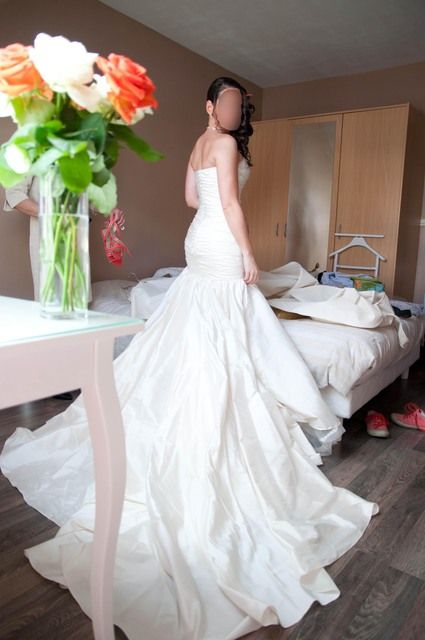 Robe de mariée Pronovias t.36 en soie sauvage ivoire