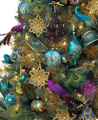 Holiday Lane Christmas Ornaments, Regal Peacock Tree ThemeLooks almost like the Mardi Gras tree I won last year!