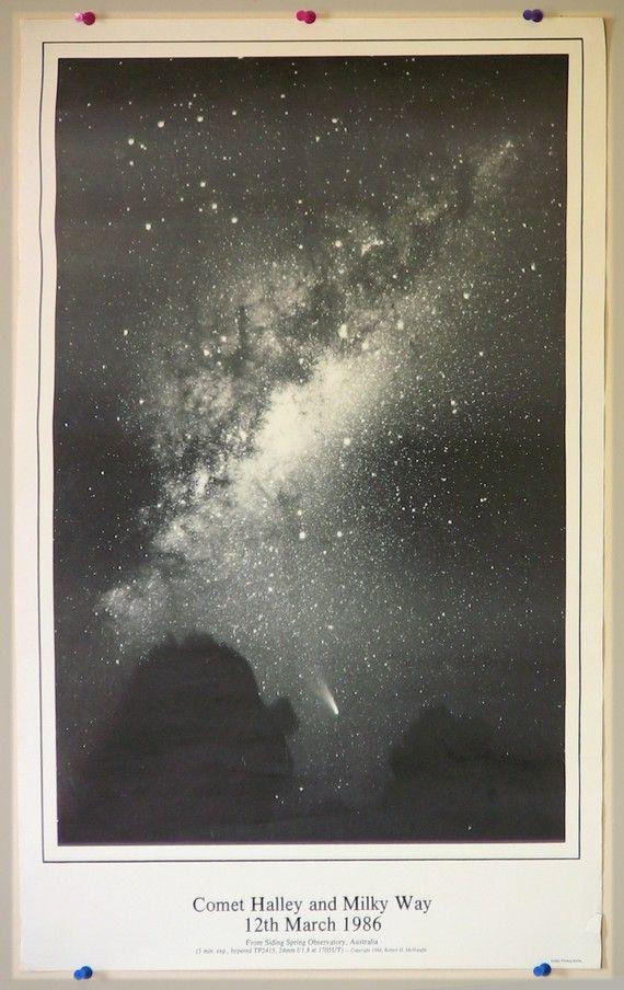 Vintage Space Poster - Halley's Comet: Vintage Posters, Halley Comet, Shoots Stars, Comet Halley, 11Th Birthday, Vintage Spaces, Milkyway, Night Sky, Milky Way