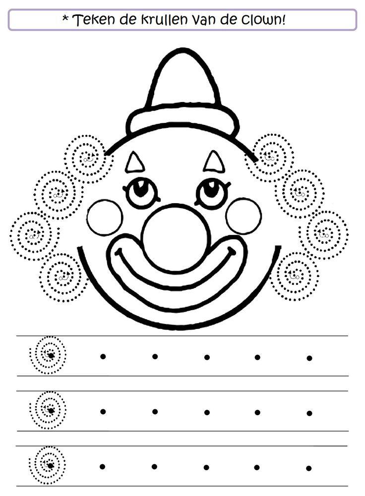 * Teken de krullen van de clown!