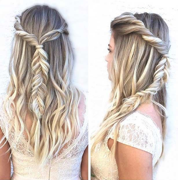 Fishtail Braid Half Updo for Prom