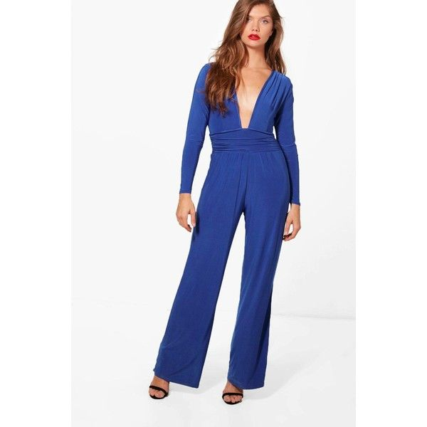 Boohoo Tall Elsa Plunge Slinky Wide Leg Jumpsuit ($20) ❤ liked on Polyvore featuring jumpsuits, wide leg jumpsuits, white plunge jumpsuit, cocktail party jumpsuit, special occasion jumpsuits and boohoo jumpsuits