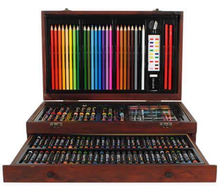 Christmas Gift Ideas - 138 Piece Complete Wooden Art Box Set