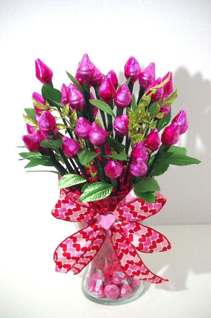 Valentine's Day - Pink Hershey Kiss Roses - Three Dozen