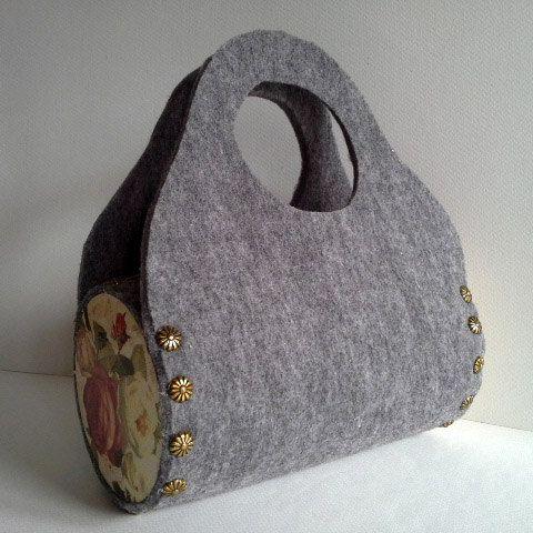 Gray taška cítil kabelky Dámske kabelky nevšedný tašku agnieszkamalik na Etsy