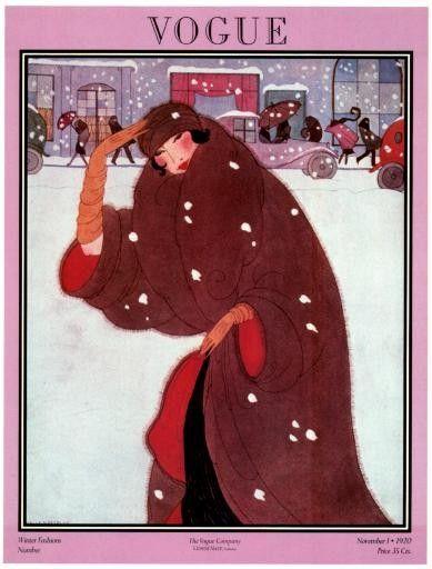 Poster of Vintage Vogue Magazine Cover- November 1, 1920 -Winter Fashions - Helen Dryden illustration via Etsy.