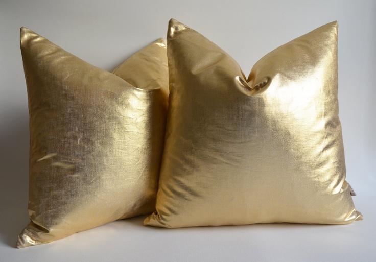 Sukan / 1 Linen Pillow Covers Metallic Gold - large pillow - euro pillows - european pillow covers - throw pillow - 26x26 pillow covers. $45.00, via Etsy.